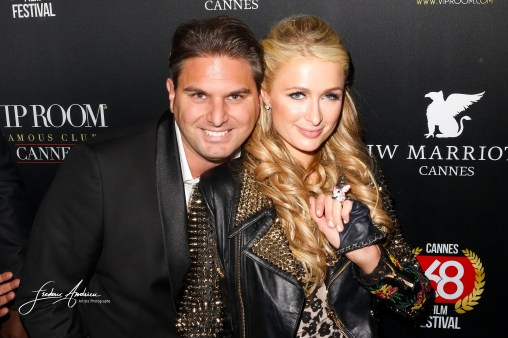 """Paris Hilton arrives at the VIP Room for her birthday. Paris Hilton fell in love with the Belgian designer Jérémy Urbain which has just launched its new brand """"Crazy Chihuahua"""" Cannes, May 15, 2015"""