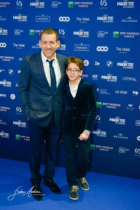 Dany Boon and his soon during the 6th ceremony of the Magritte in Brussels, cinema prices in Belgium. Brussels 6 february 2015, Belgium
