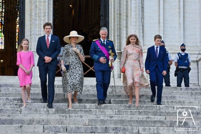Brussels , 21 July 2020 Their Majesties the King and Queen, Her Royal Highness Princess Elisabeth, Duchess of Brabant, Their Royal Highnesses Prince Gabriel, Prince Emmanuel and Princess Eleanor attend the Te Deum which takes place on the occasion of the National Day in the Cathedrale de Saints-Michel-et-Gudule - Kathedraal van Sint-Michiel en Sint-Goedele in Brussels. After the Te Deum, the King goes to BOZAR, to discover the mural by artist Dema One . Pix : King Philippe / Queen Mathilde / Princess Elisabeth / Prince Gabriel / Prince Emmanuel / Princess Eleanor Brussels, 21 july 2020, Belgium F.Andrieu / AgencePeps