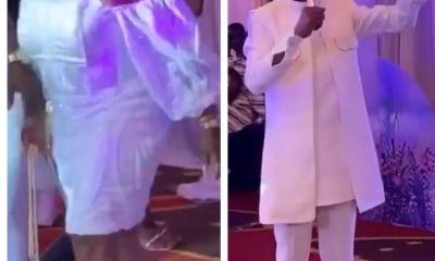 Afia Schwarzenegger Allegedly Spotted Picking Money Into Plastic Bag At Rev Obour's Naming Ceremony Of Triples