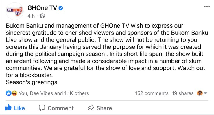 , Management of GHOne TV confirms 'Bukom Banku Live' show will not be aired in 2021, Frederick Nuetei