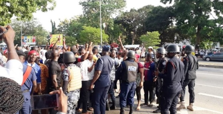 ndc supporters, NDC supporters march to Electoral Commission headquarters, Frederick Nuetei