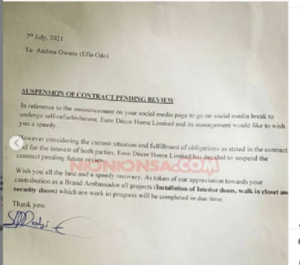 , Efia Odo's ambassadorial contract suspended following her break from social media, Frederick Nuetei