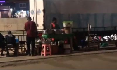 , Pavement of Pokuase Interchange turned to 'fufu' chop bar in video, Frederick Nuetei