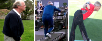 man leaning one on treadmill and stretching