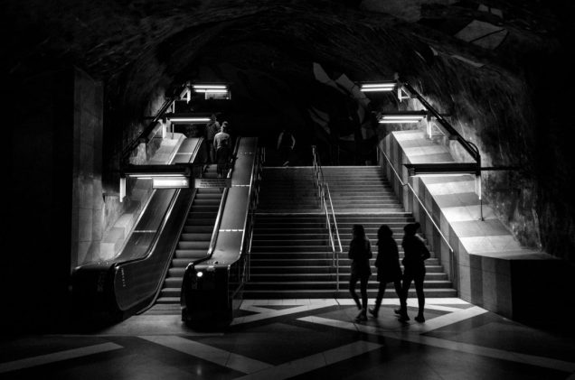 Kunstradgarden subway leaving people- Stockholm, Sweden