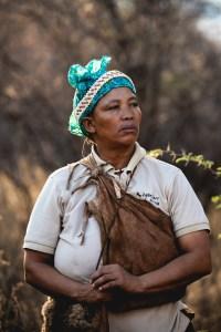 Female guide for the bushmen in Botswana
