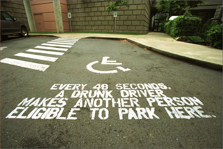 The mission was to create a print ad for drunk driving. Instead they they painted parking lots at schools before the prom