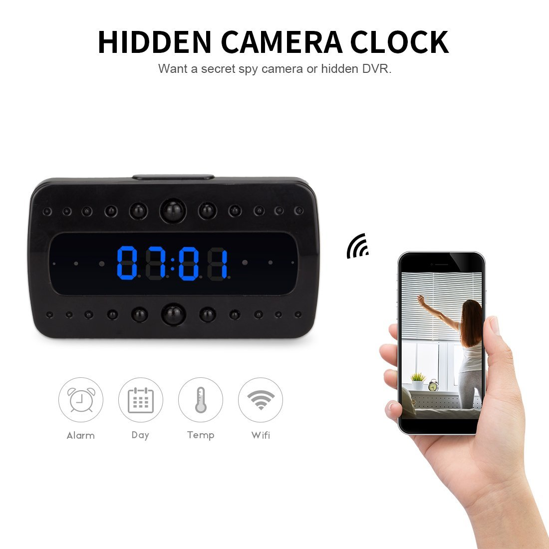 Spy Camera Clock Wireless Wifi IP Home Security LOT 1080P DVR Night Vision Cam