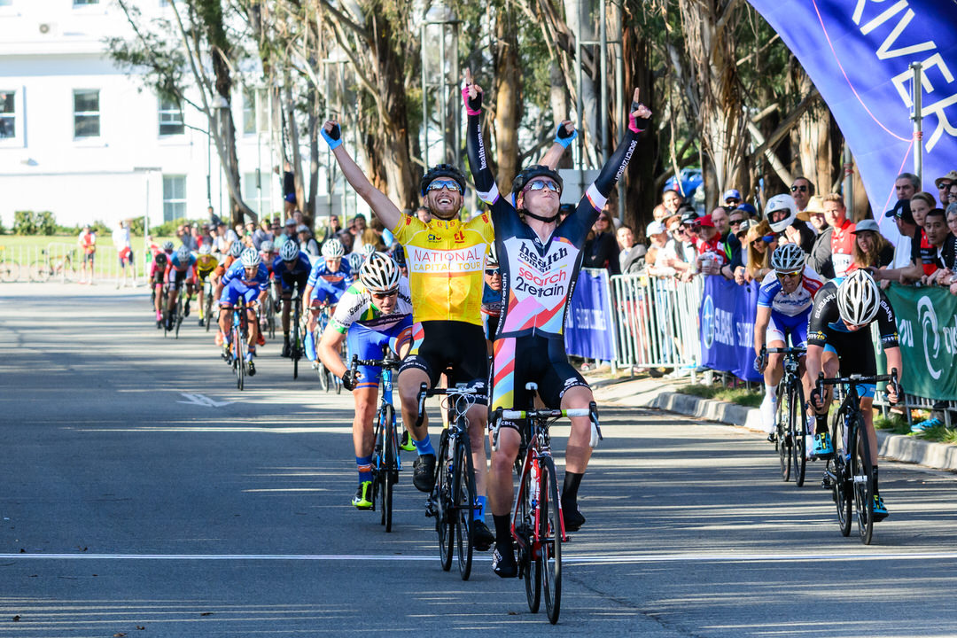 2014 National Capital Tour Stage 4 winner Alistair Donohoe of team health.com.au-search2retain crossing  the finish line