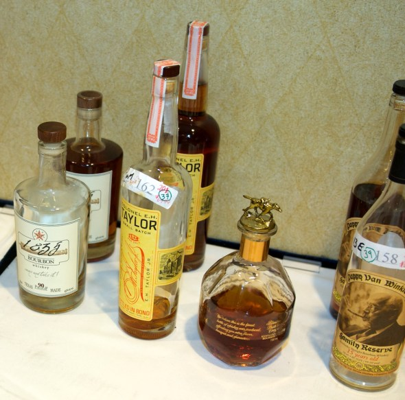 """From left to right: 36, aka 1835 """"Texas made"""" bourbon; 37, aka EH Taylor Bottled in Bond; 38, aka Blanton's Gold Edition; and 39, aka Pappy Van Winkle 15-year-old."""