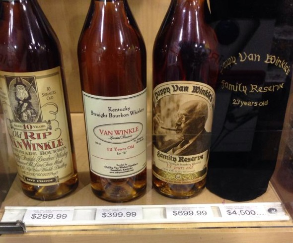 The Van Winkle line in a New Jersey liquor store. Photo courtesy of Michael Soo.