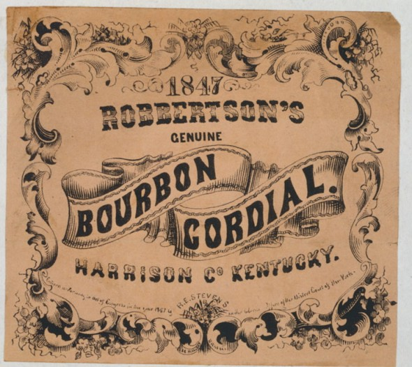 This Robertson's Genuine Bourbon Cordial label was found in the Library of Congress' photo collection. While the label says 1847, the Library says it was printed in 1857.