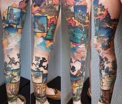 amazing-calvin-and-hobbes-full-leg-sleeve-themed-tattoo-designs