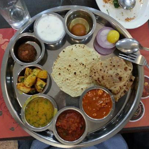 Dal-Phulka, Ganthiya Sabji, Masala Chaas and Bheeh at Bhagat Tarachand