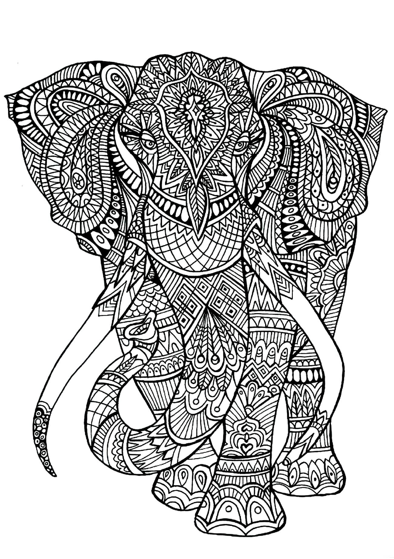Elephant - Animals Coloring pages - 100% Mandalas Zen ...   mandala colouring sheets animals