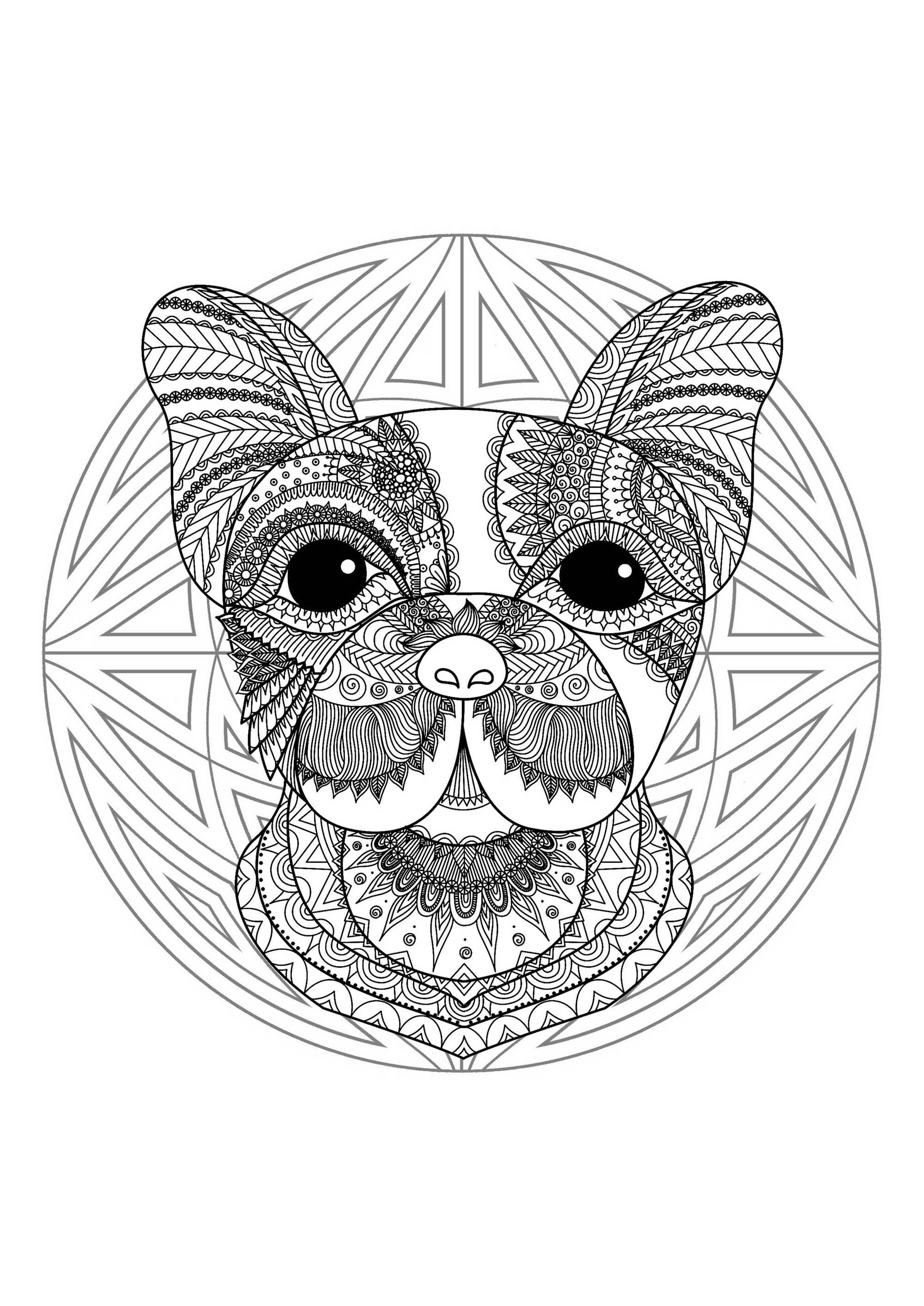 Complex mandala coloring page cute little dog head 2, cute coloring pages