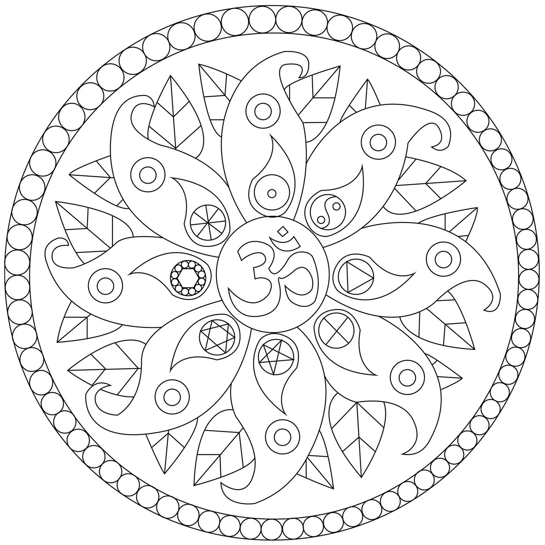 Mandala With Petals And Symbols