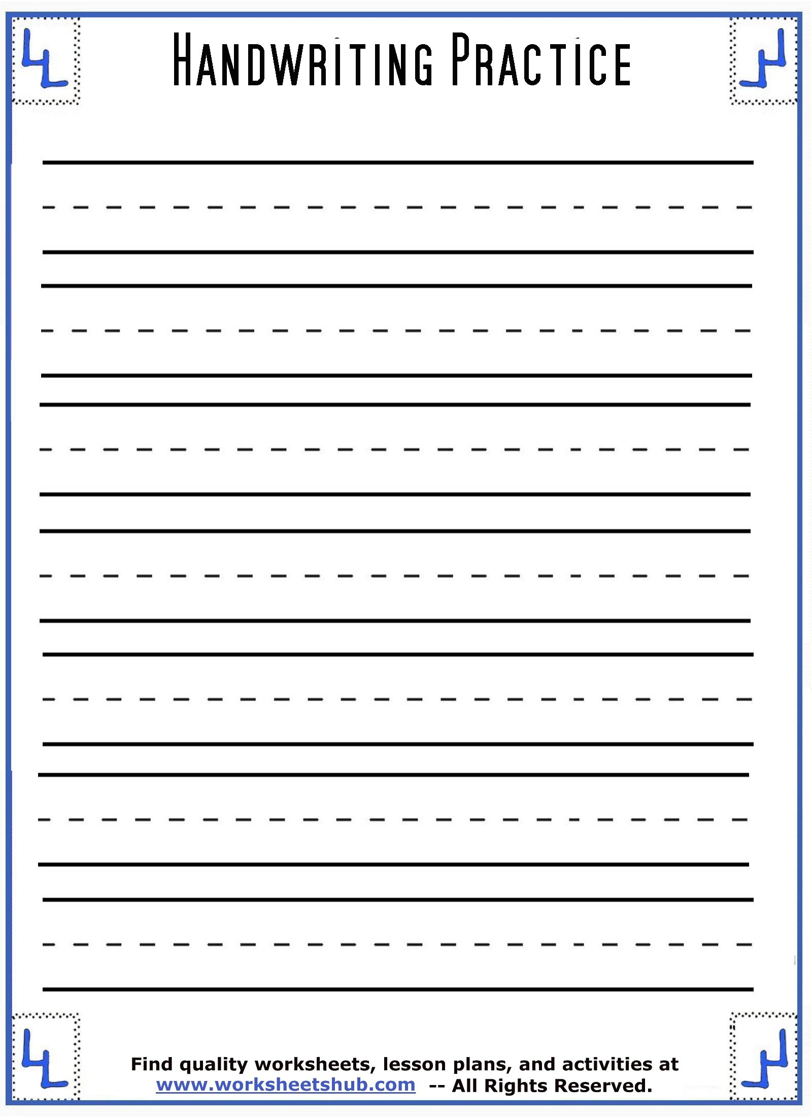Printable Lined Handwriting Worksheets