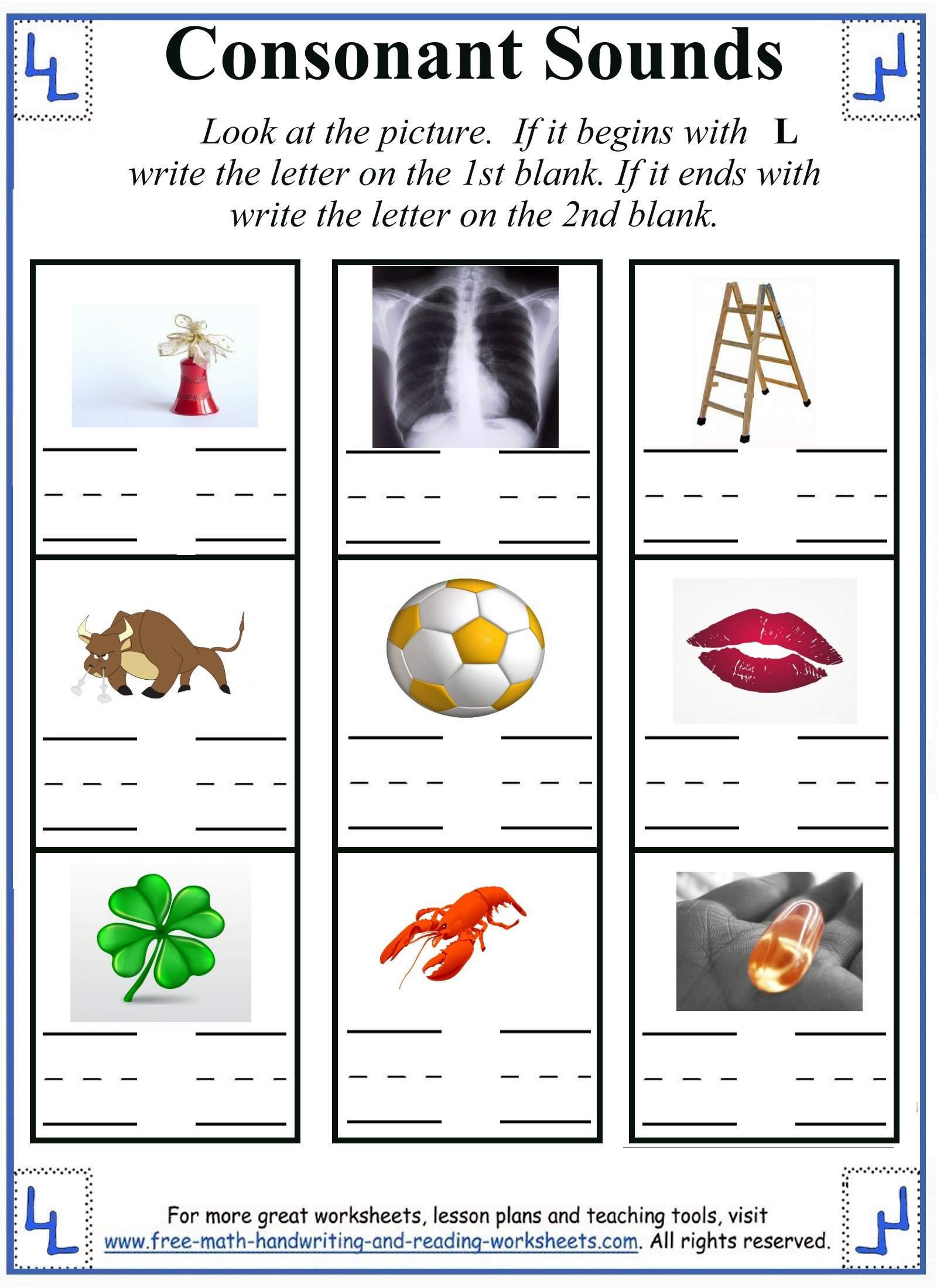 Consonant Letters Worksheets For Kindergarten