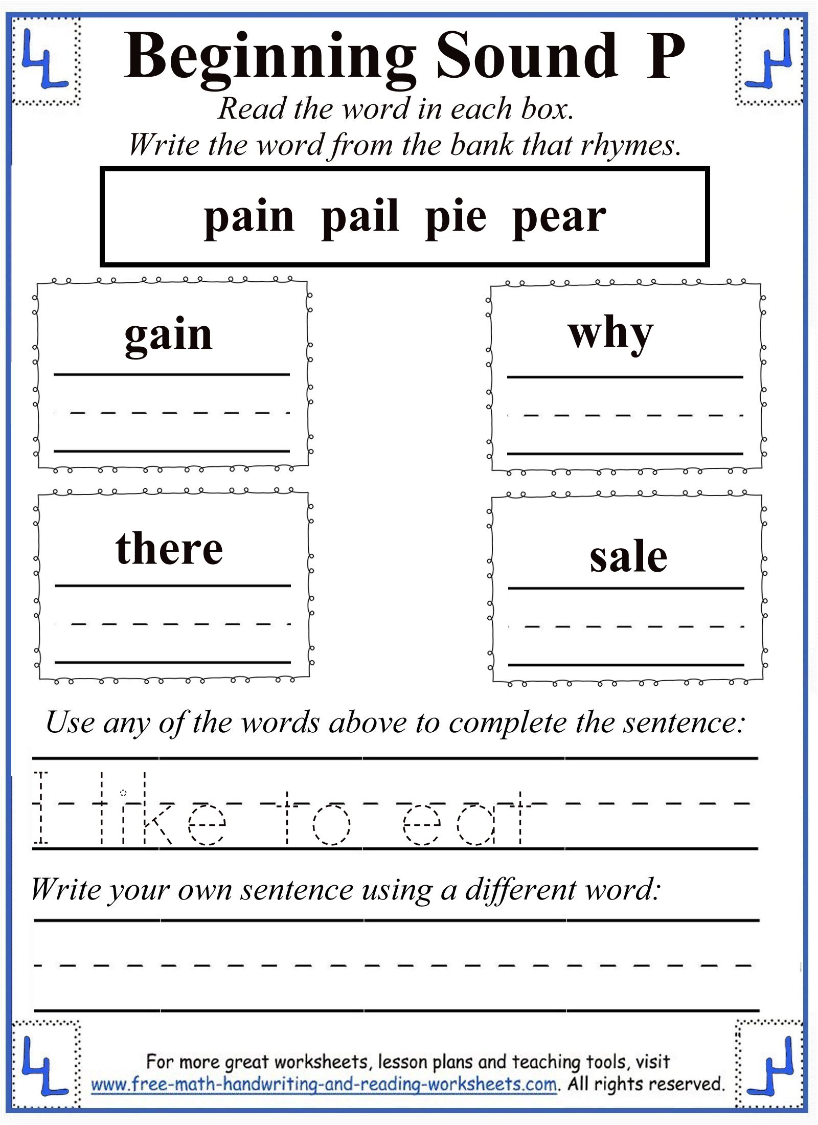 Word Write Cut And Paste Worksheet