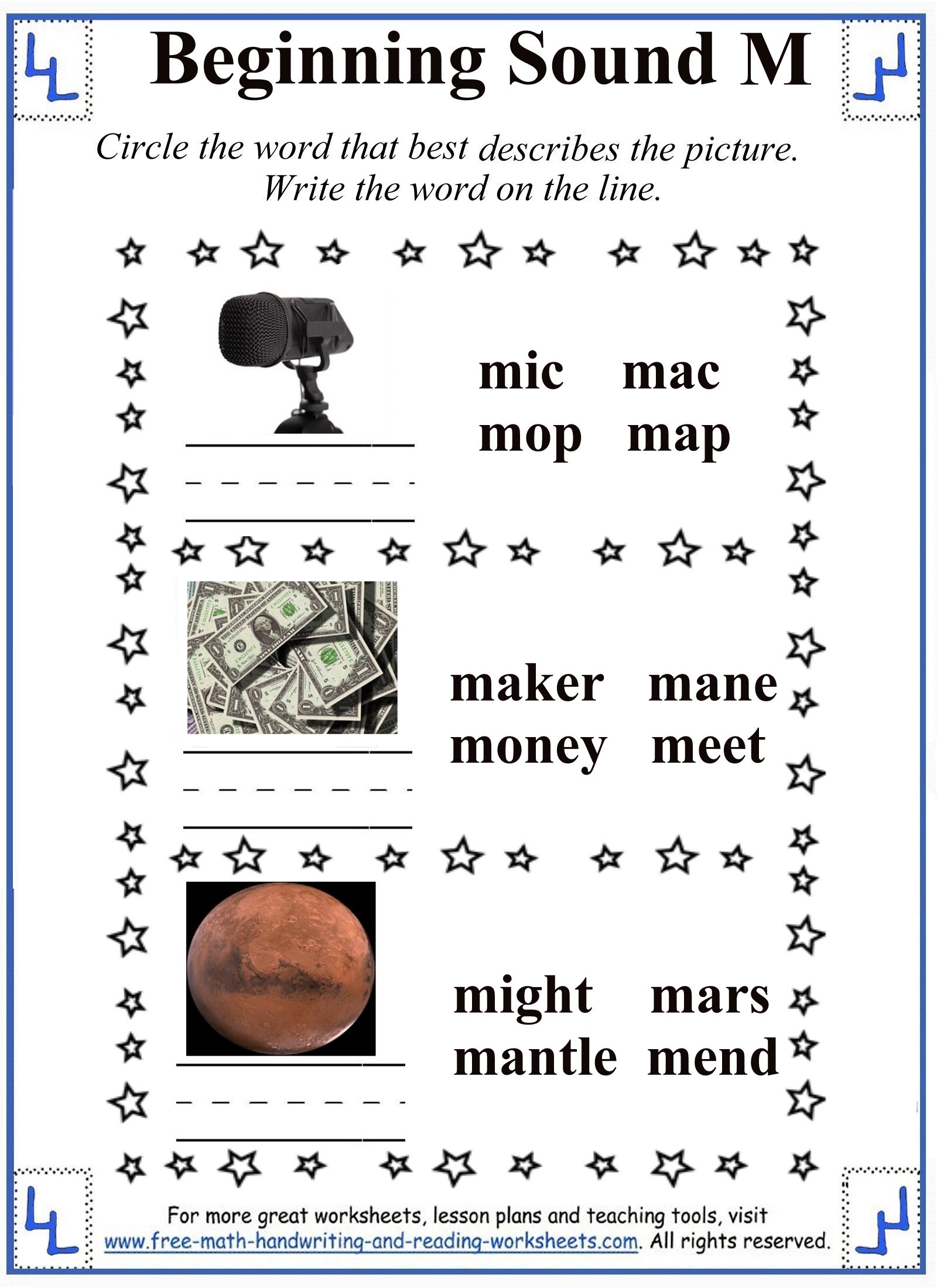 M Letter Worksheets