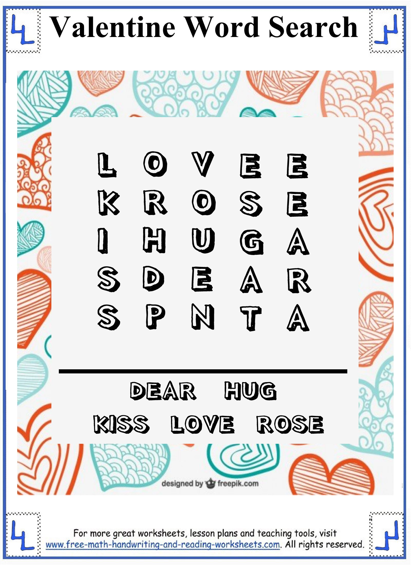 Free Valentine Reading Worksheet