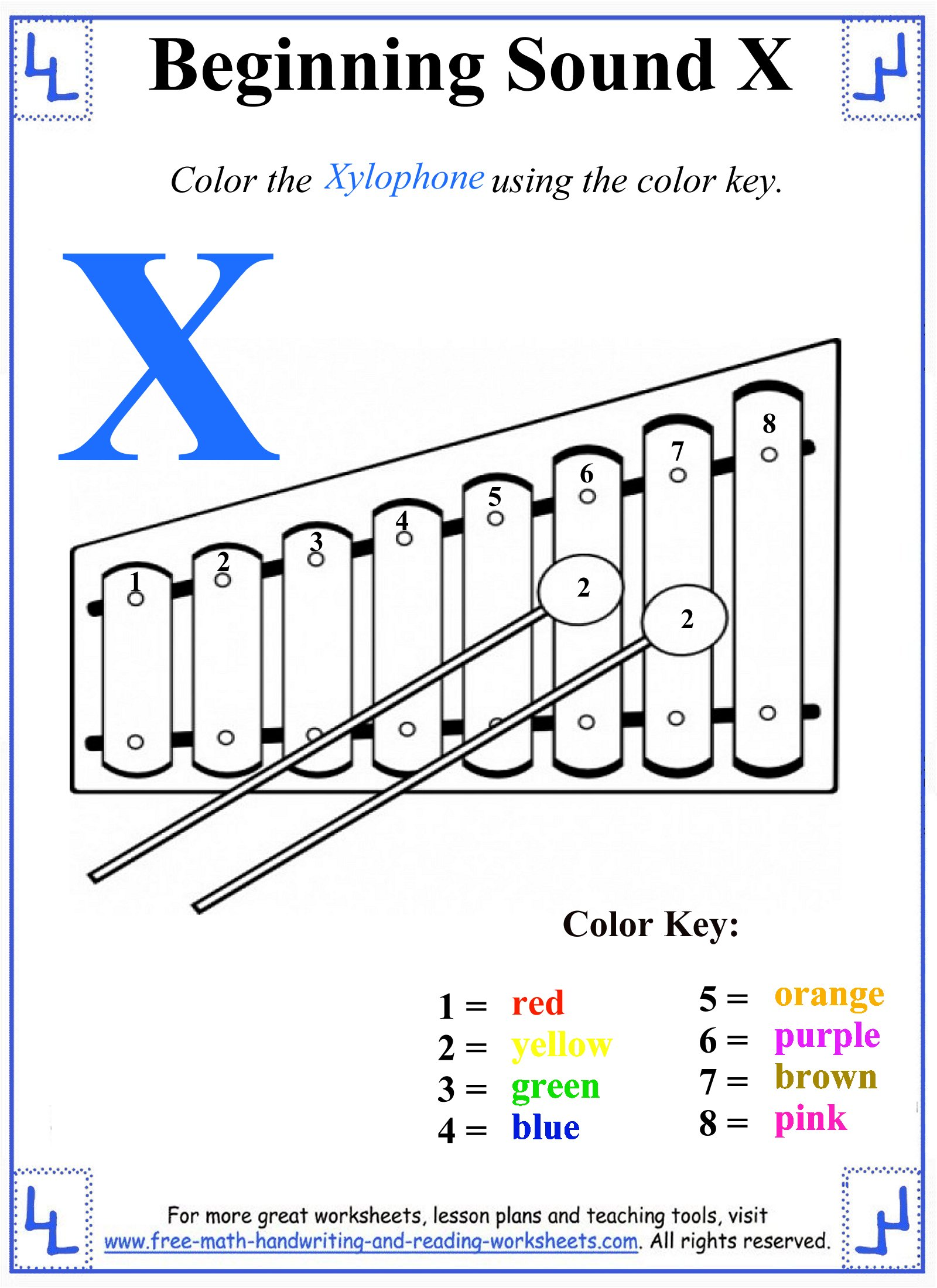 X Letter Worksheets