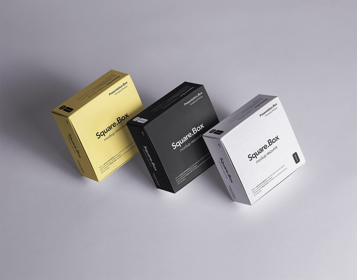 Download Three Square Boxes Packaging Free Mockup | Free Mockup