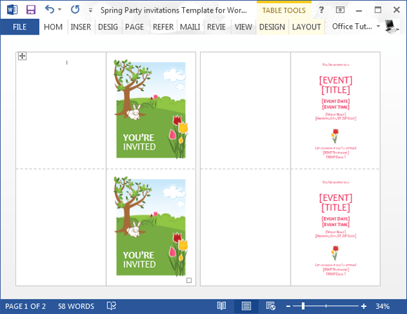 Spring Party Invitation Template For Microsoft Word