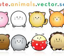 Cute Puffy Animals Free Vector Art