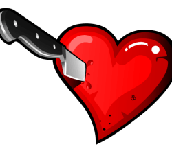 Stabbing Heart with Knife Vector Image