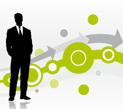 Vector Abstract Background with Businessman Silhouette