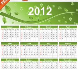 2012 Eco Green Free Vector Calendar