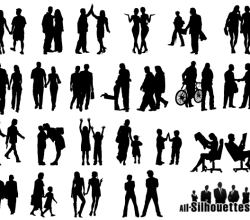 People in Couples Silhouettes Vector Art