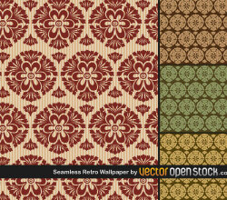 Seamless Retro Wallpaper Vector Pack