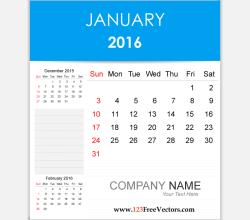 Editable Calendar January 2016