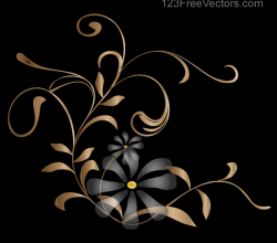 Vector Background with Golden Floral