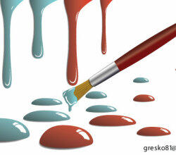 Paint Drops and Paint Brush Free Vector