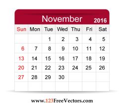 Free Vector 2016 Calendar November