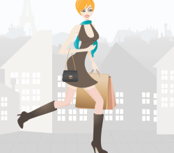 Vector Shopping Girl in Paris