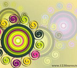 Swirl &Amp; Circle Background Vector