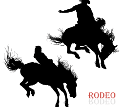 Vector Cowboy Riding Horse in Rodeo