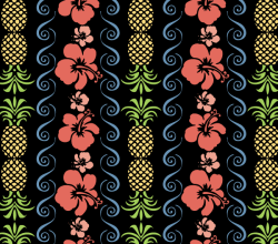 Free Vector Hibiscus Flowers Seamless Pattern with Pineapple