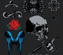 Vectors Sample Pack: Skull, Wings, Rose Flowers, Vintage Ornaments