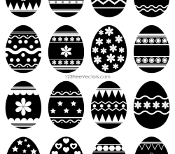 Easter Egg Vector Black and White