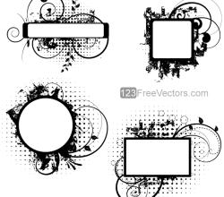 Floral Grunge Frame Vector Designs