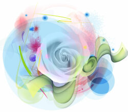 Vector Watercolor Rose Flower