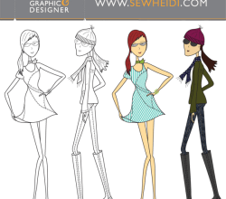 Vector Outfitted Female Fashion Croquis Sketches