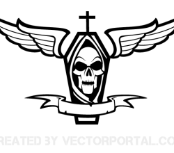 Coffin with Cross, Skull, Wings and Ribbon Vector